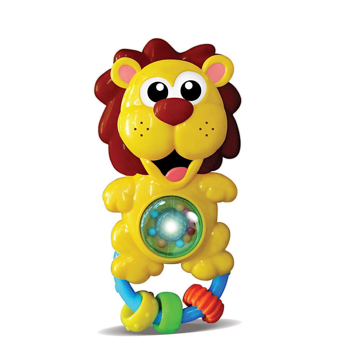 Chocalho para bebê 6 meses infantil musical luz e som Leãozinho Zoop