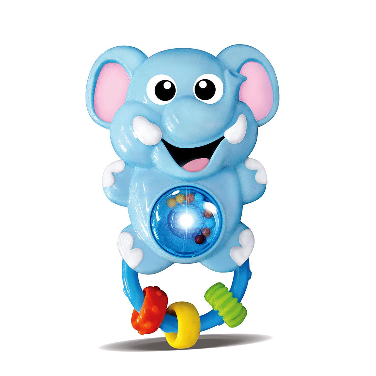 Chocalho par bebê 6 meses musical luzes e som elefantinho azul Zoop