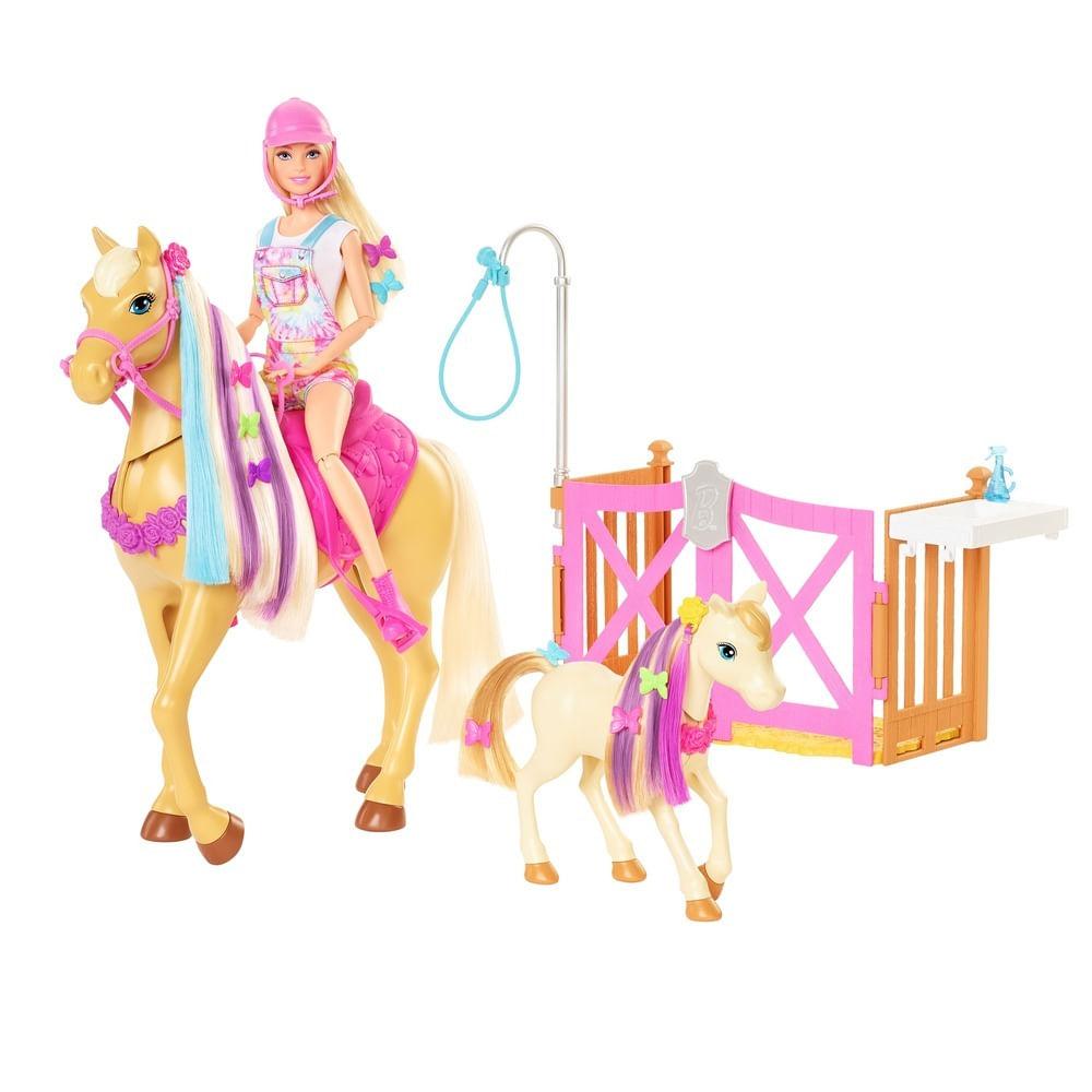 Boneca Barbie - Sisters & Pets - Barbie com Cavalo Penteados Divertidos - Mattel