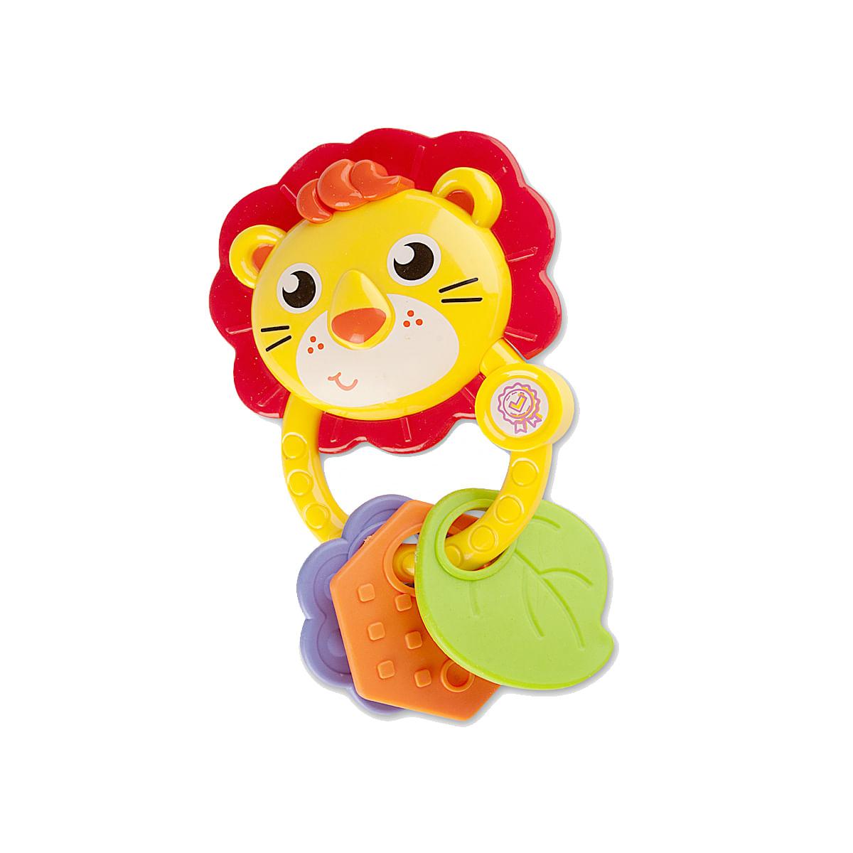 Mordedor Chocalho infantil para bebê 0 a 18 meses Leão Amarelo Zoop