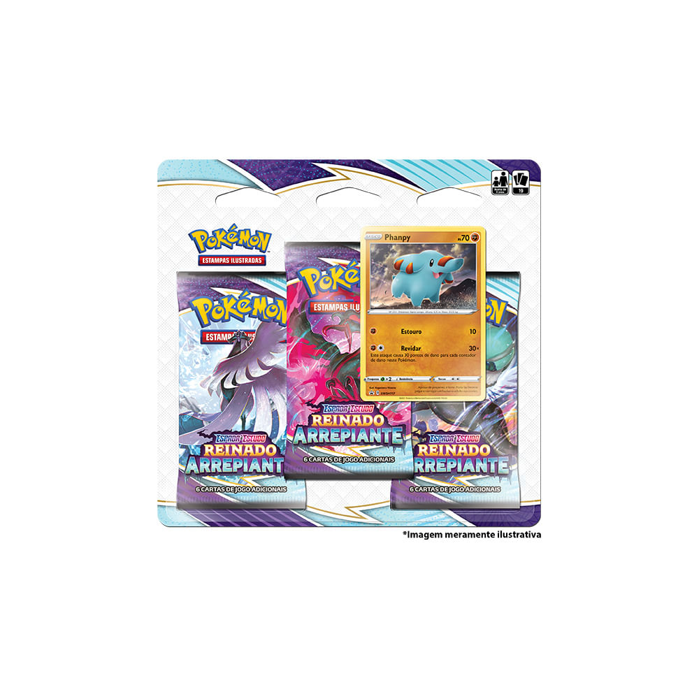 Jogo Pokémon - Blister Triplo - Reinado Arrepiante - Phanpy - Copag