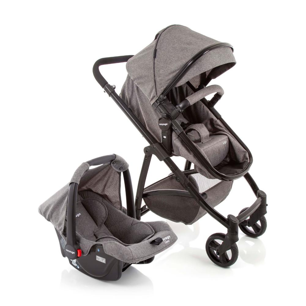 Travel System Carrinho de Bebê com Bebê Conforto Voyage VIP DUO Cinza