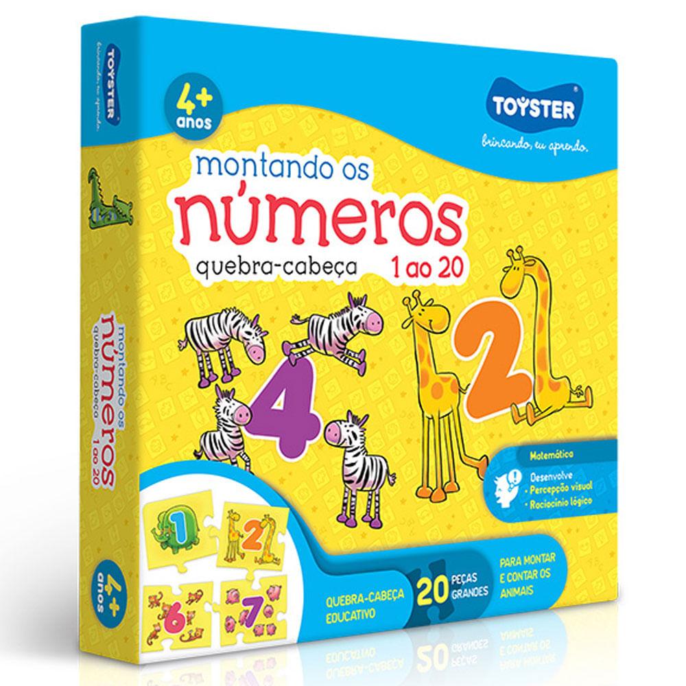 Quebra-Cabeça - Montando os Números do 1 ao 20 - 20 Peças - Toyster