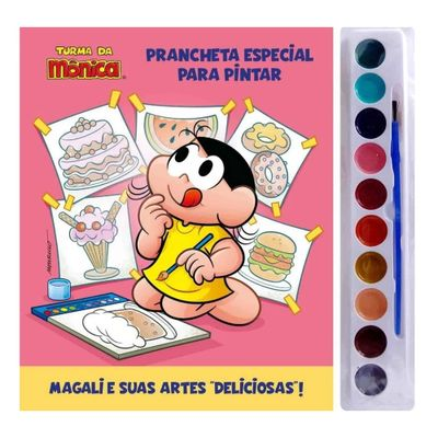 Livro-Aquarela-Infantil---Turma-da-Monica---Magali---Prancheta---Edicao-3---Catavento_Frente