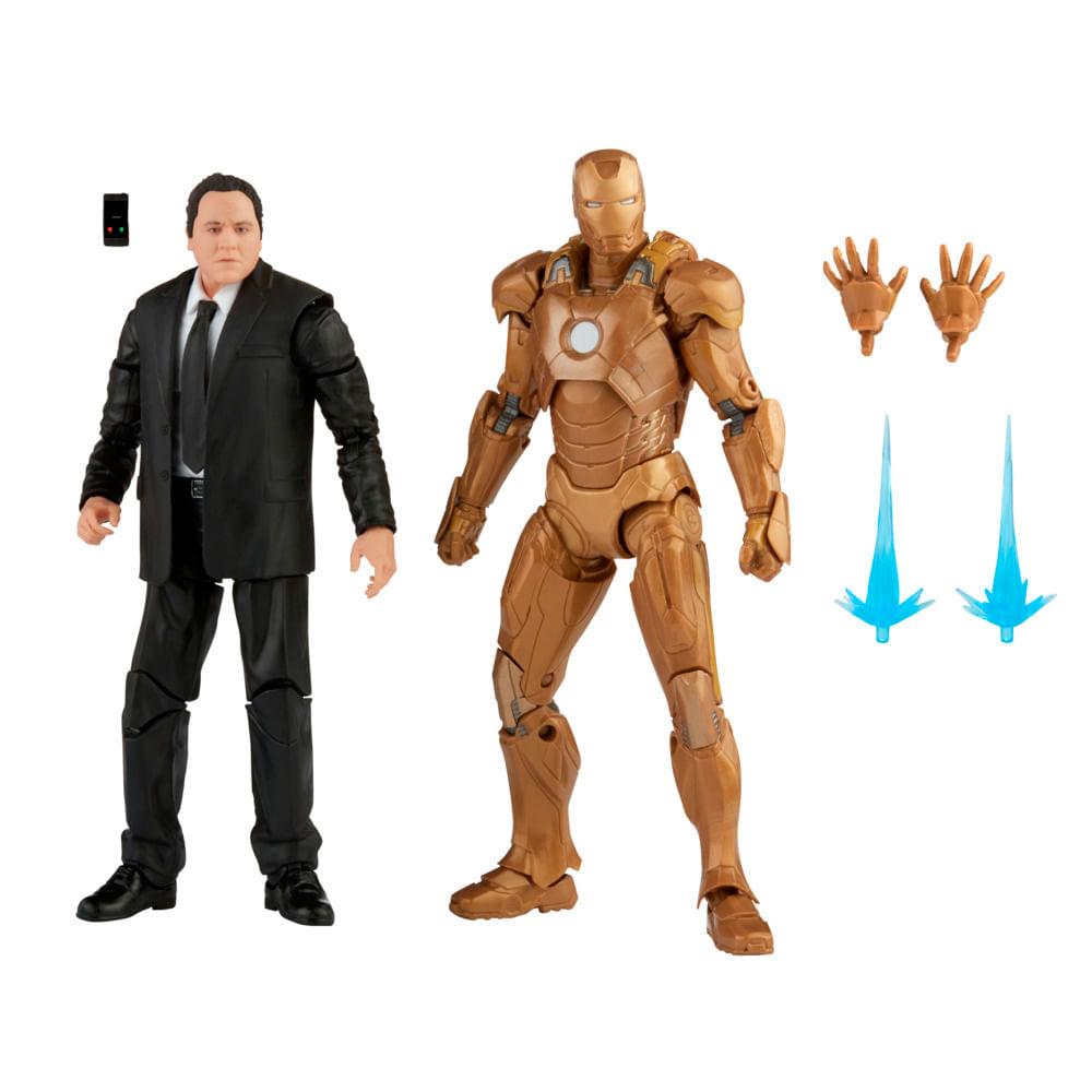 Boneco Articulado - Marvel - 15 cm - Happy Hogan e Homem de Ferro Mark 21 - Hasbro