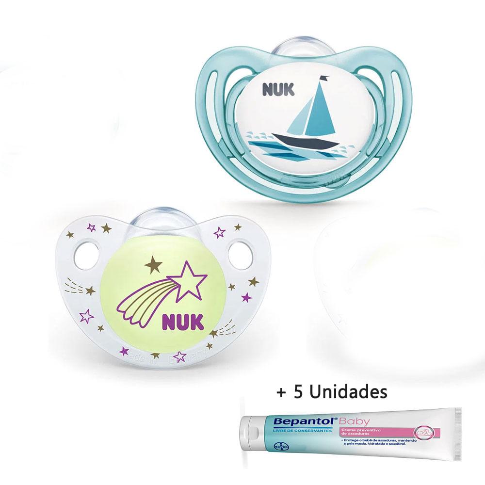 Kit de Chupetas de Silicone - Dia e Noite - Tam 2 + 5 Unidades Bepantol Baby - 5G