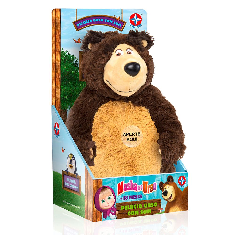 Pelúcia Urso Com Som - Masha e o Urso - Estrela