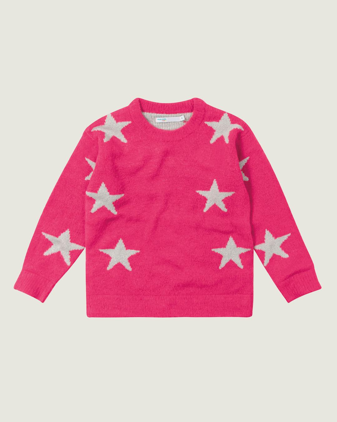 Blusão - Malwee Kids - Estrelas - Tricô - Rosa Escuro - Menina