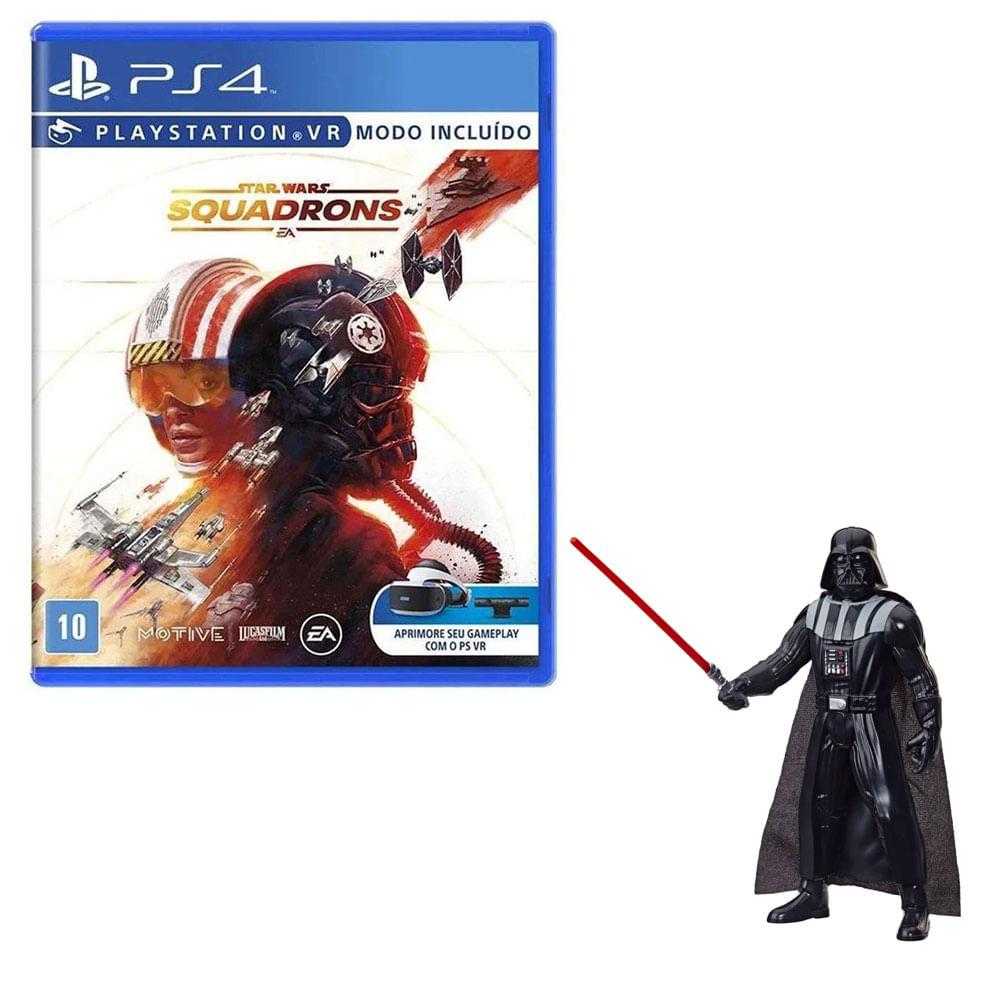 Kit de Jogo PS4 - Star Wars Squadrons e Mini Figura - Darth Vader - 9,5 Cm