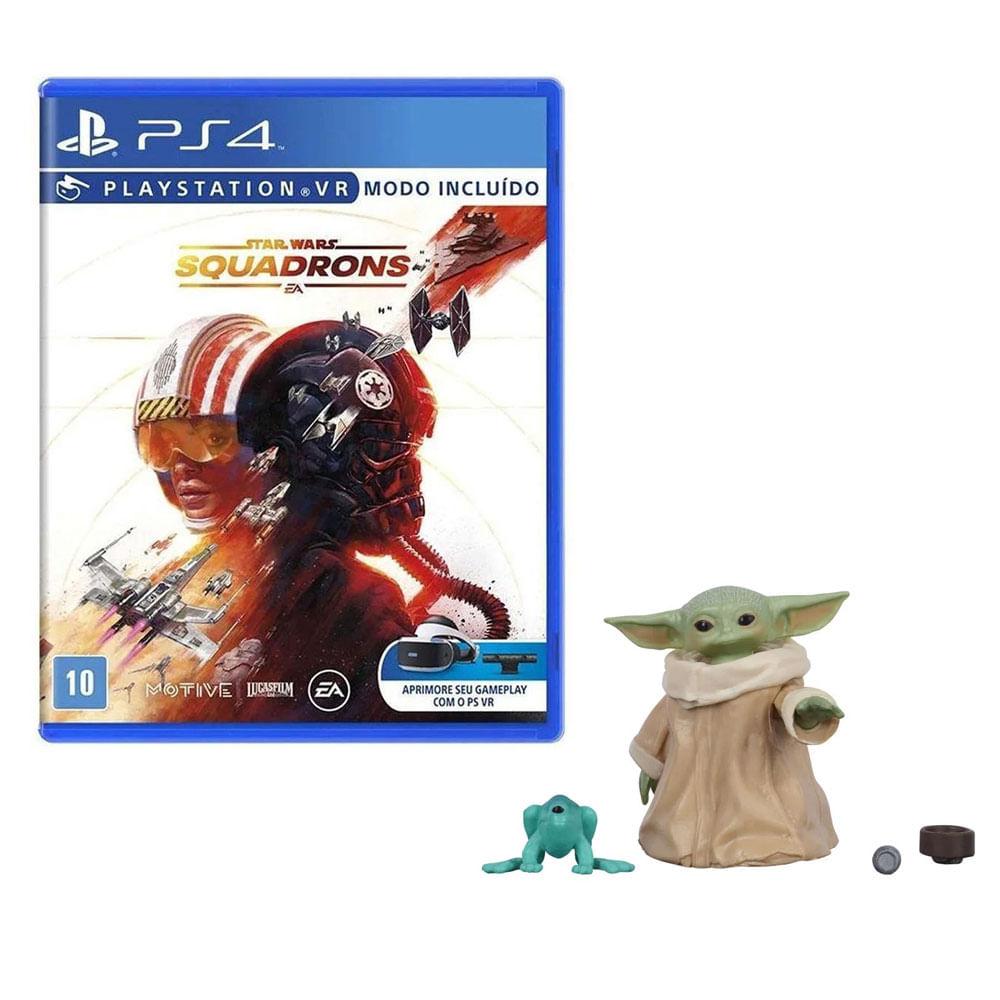 Kit de Jogo PS4 - Star Wars Squadrons e Mini Figura - Mandalorian - Baby Yoda