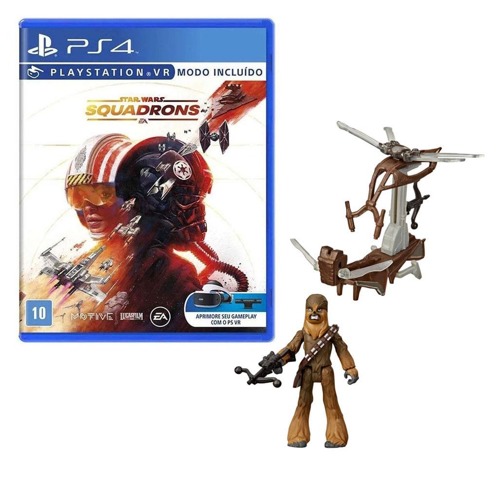 Kit de Jogo PS4 - Star Wars Squadrons e Mini Figura - Mission Fleet - Chewbacca