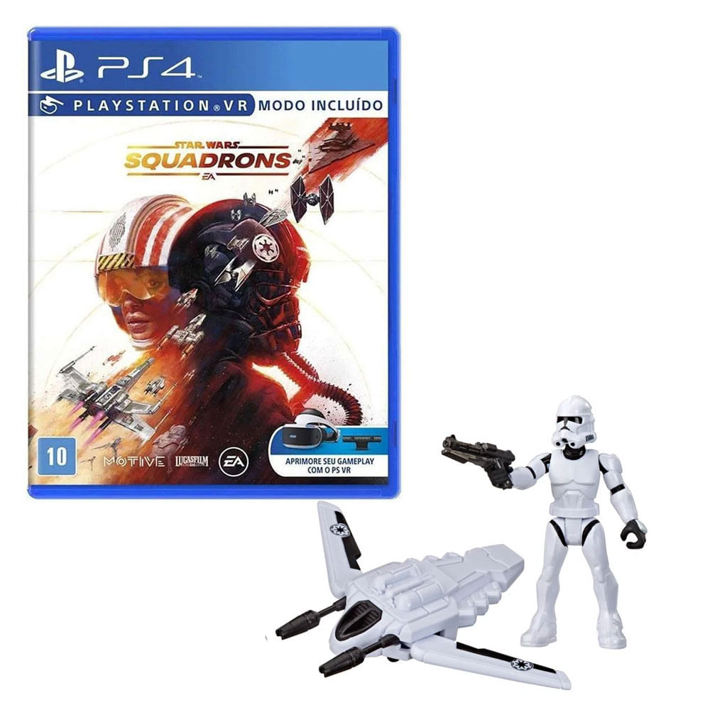 Kit de Jogo PS4 - Star Wars Squadrons e Mini Figura - Mission Fleet - Clone Trooper