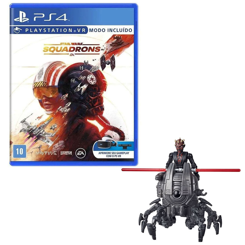 Kit de Jogo PS4 - Star Wars Squadrons e Mini Figura - Mission Fleet - Darth Maul