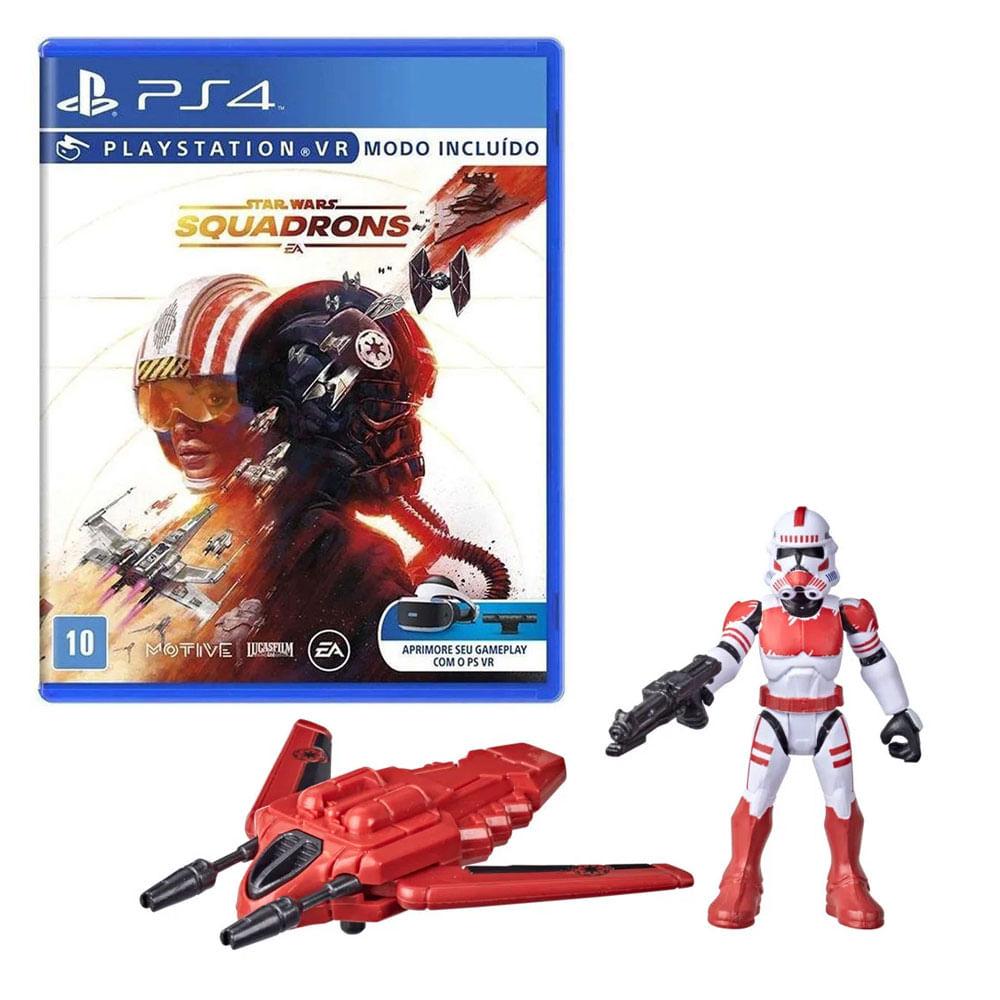 Kit de Jogo PS4 - Star Wars Squadrons e Mini Figura - Mission Fleet - Shock Trop