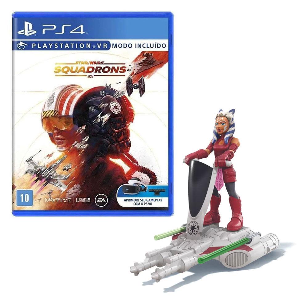 Kit de Jogo PS4 - Star Wars Squadrons e Mini Figura - Mission Fleet - Ahsoka Tano