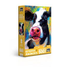 Quebra-Cabeca---Game-Office---500-Pecas---Nano---Retratos-Animais----Vaca---Toyster-0