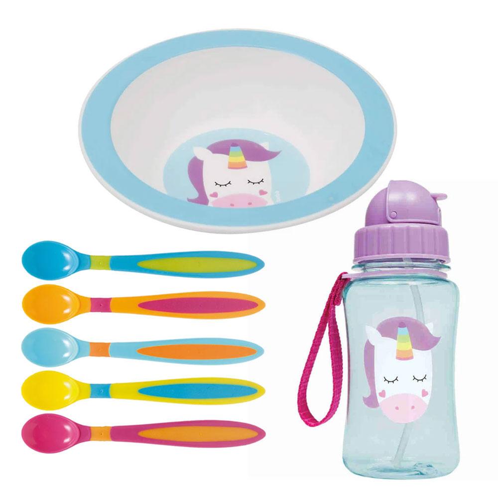 Kit de Alimentação Animal Fun - Unicórnio - 7 Peças com Bowl - Buba