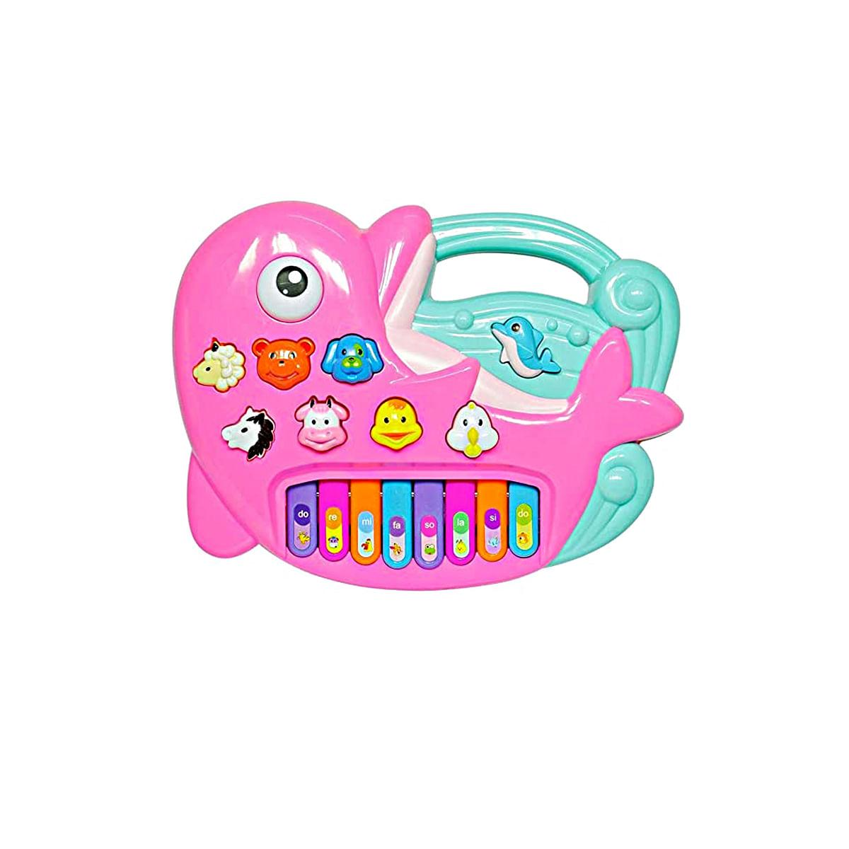 Teclado infantil didatico educativo para bebe 1 ano Golfinho rosa luzes e som BBR