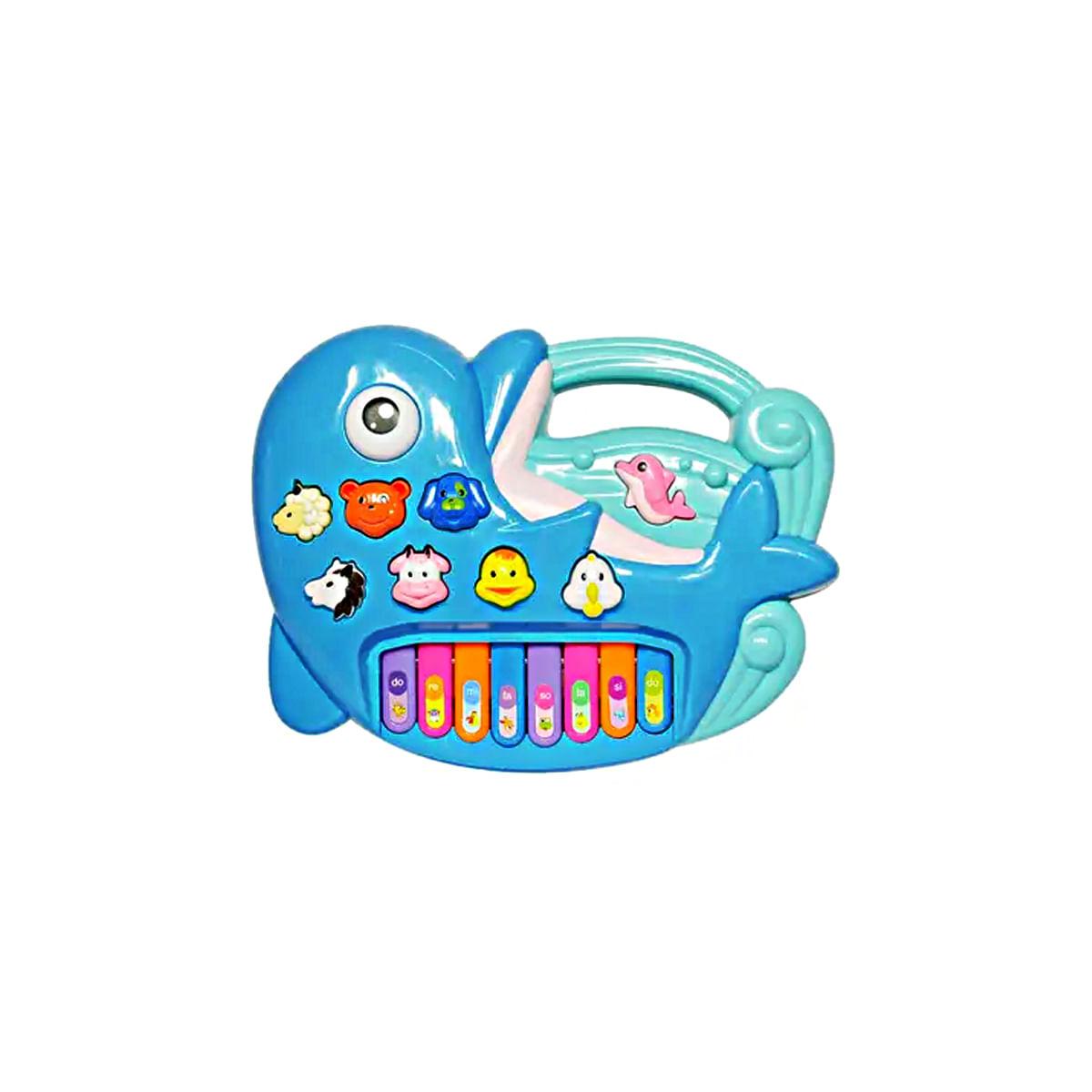 Teclado infantil didatico educativo para bebe 1 ano Golfinho azul luzes e som BBR