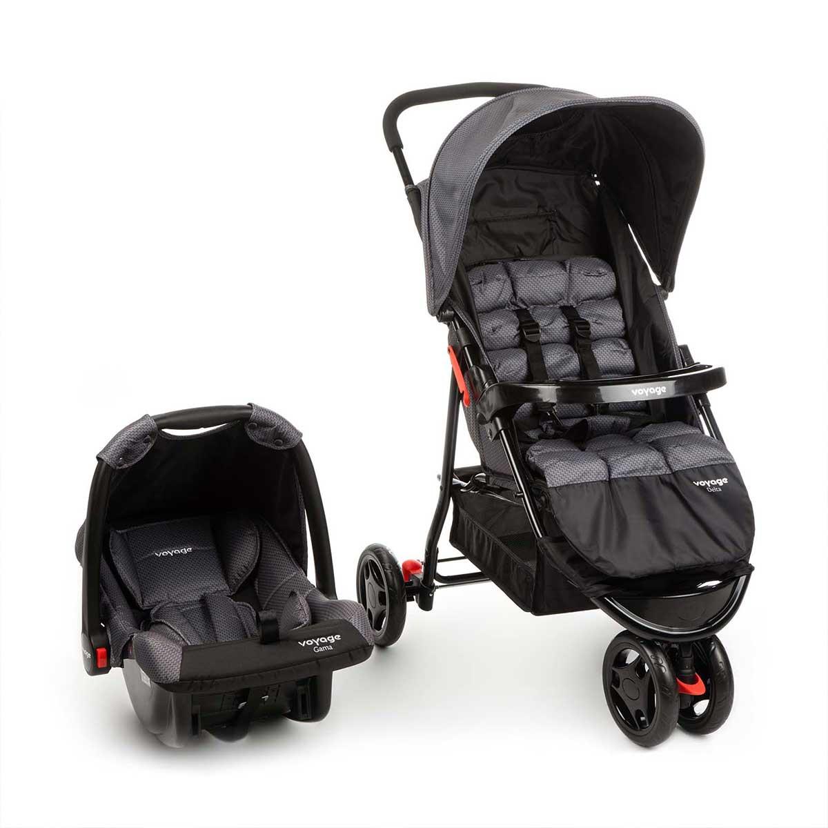Carrinho com Bebê Conforto Travel System Delta Voyage Cinza