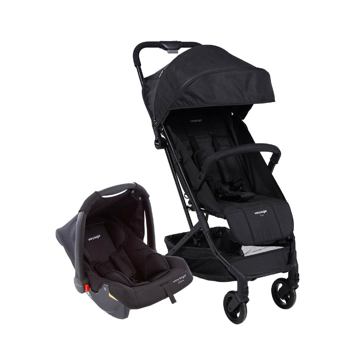 Carrinho com Bebê Conforto Travel System Yupi Preto - Voyage
