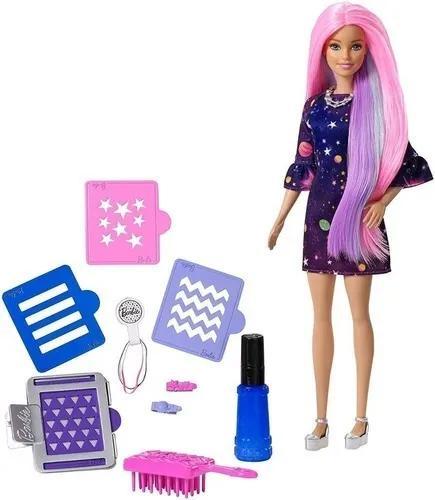 Boneca Barbie Cabelos Coloridos - Muda Cor Com Água Estrela