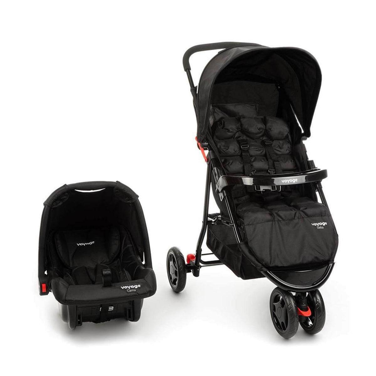 Carrinho com Bebê Conforto Travel System Delta -Voyage Preto
