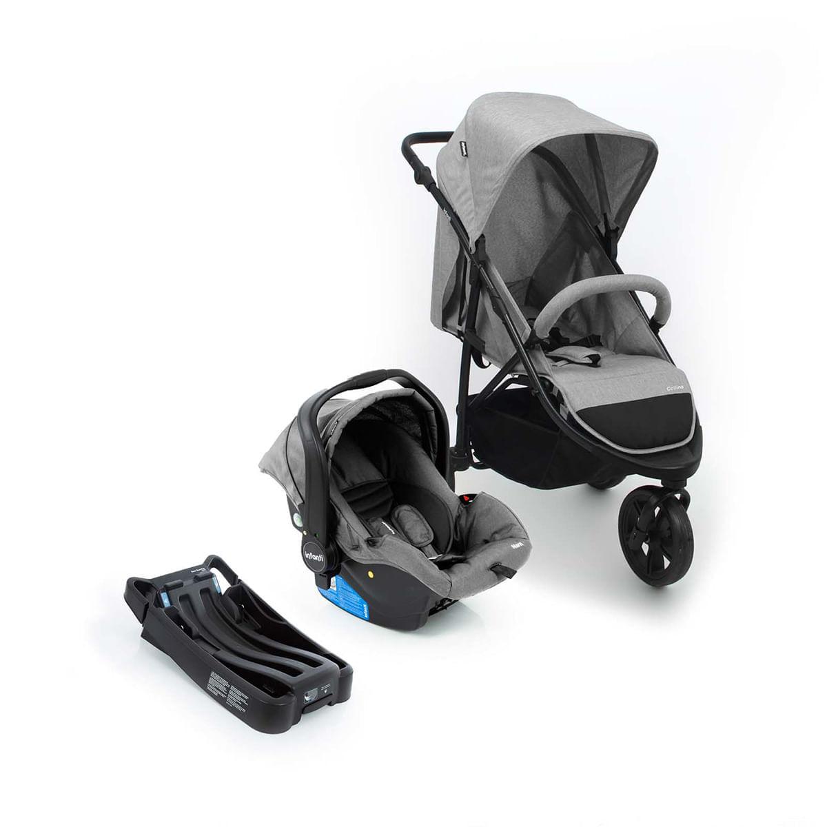 Carrinho Bebê Conforto Collina Travel System Cinza Infanti