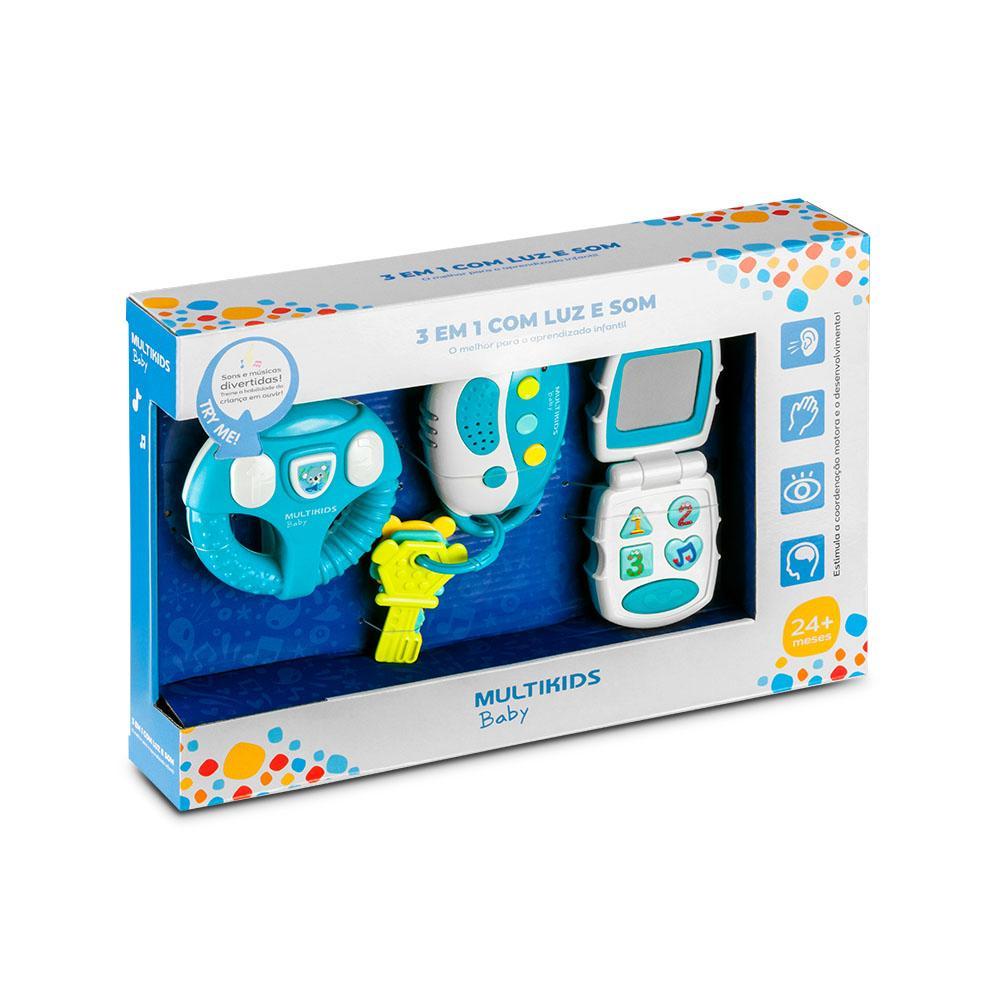 Brinquedo de Atividades - 3 em 1 - Luzes e Sons - Azul - Multikids