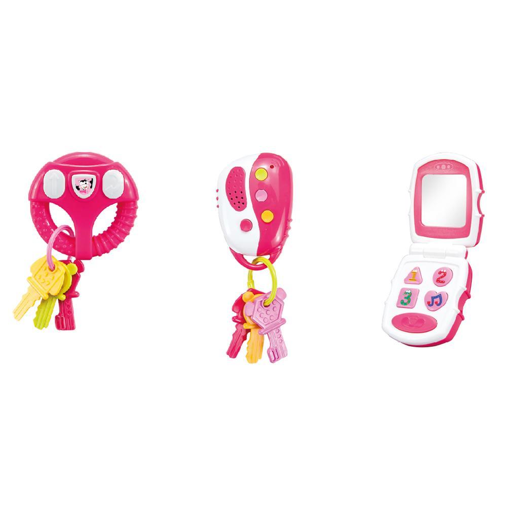 Brinquedo de Atividades - 3 em 1 - Luzes e Sons - Rosa - Multikids