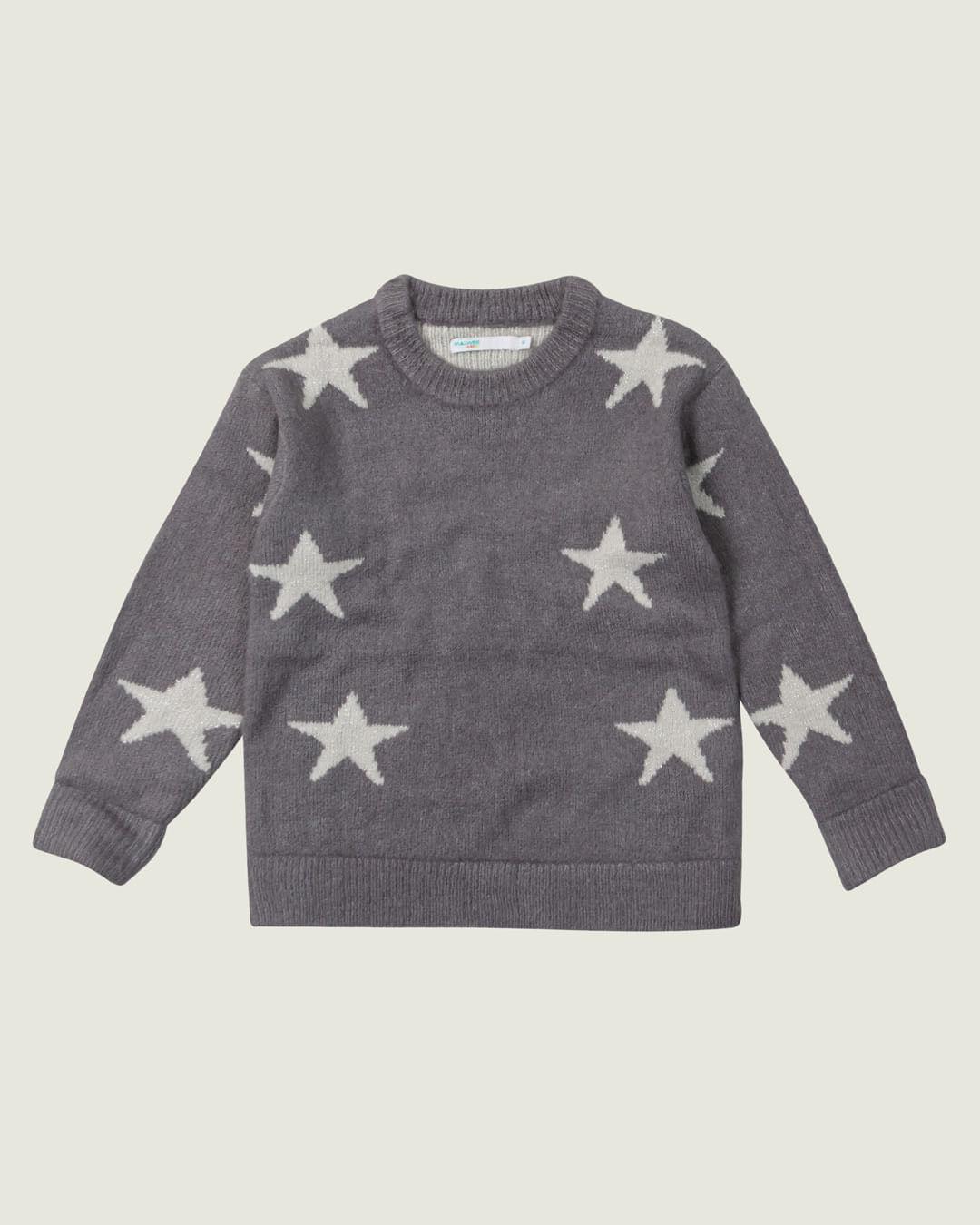Blusão - Malwee Kids - Estrelas - Tricô - Cinza Escuro - Menina