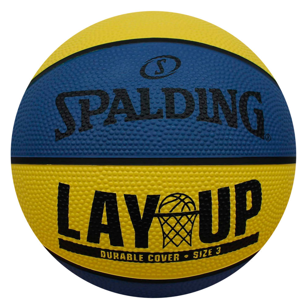Mini Bola de Basquete - Lay-Up - Amarela e Azul - Spalding - Tamanho 3