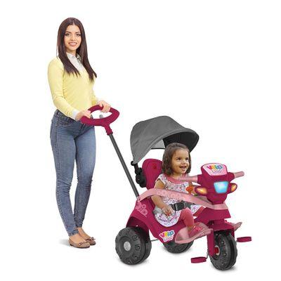 Triciclo-de-Passeio-e-Pedal---Velobaby---Reclinavel-Com-Capota---Pink---Bandeirante-0
