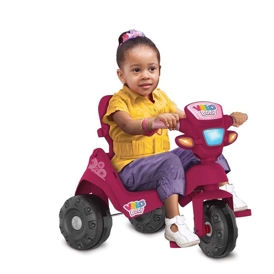 Triciclo-de-Passeio-e-Pedal---Velobaby---Reclinavel-Com-Capota---Pink---Bandeirante-2