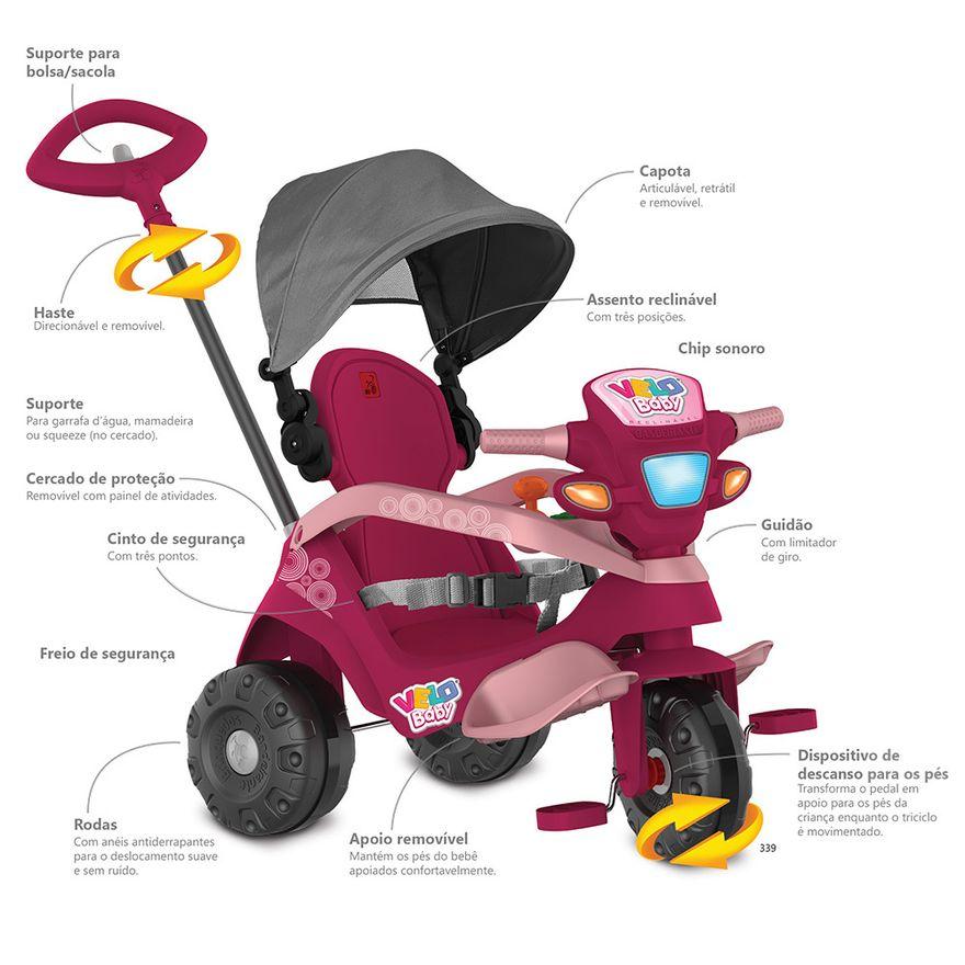 Triciclo-de-Passeio-e-Pedal---Velobaby---Reclinavel-Com-Capota---Pink---Bandeirante-10