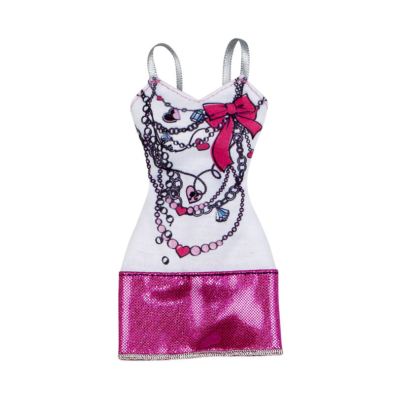 Roupinha Barbie Fashionistas - Vestido Branco e Pink - Mattel
