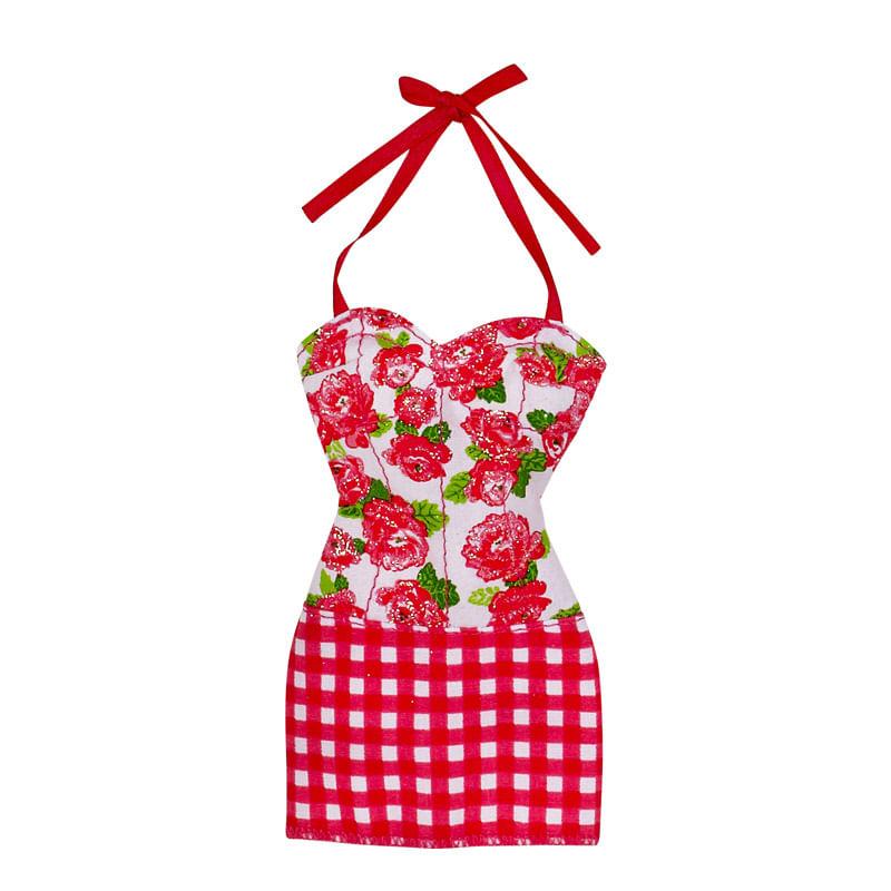 Roupinha Barbie Fashionistas - Vestido Vermelho Florido - Mattel