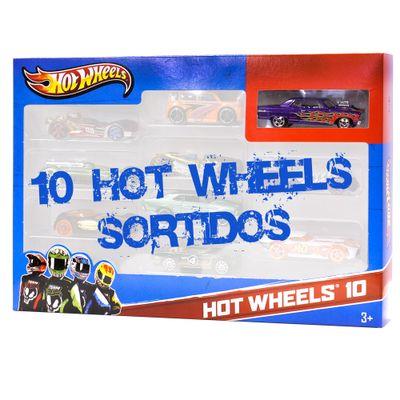 Carrinhos-Hot-Wheels-Pacote-com-10-Carros-Carro-Roxo-com-Fogo-Mattel
