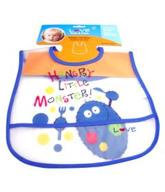 Babador-com-Bolso-Ajustavel-com-Velcro-monster-hungry-azul-Love
