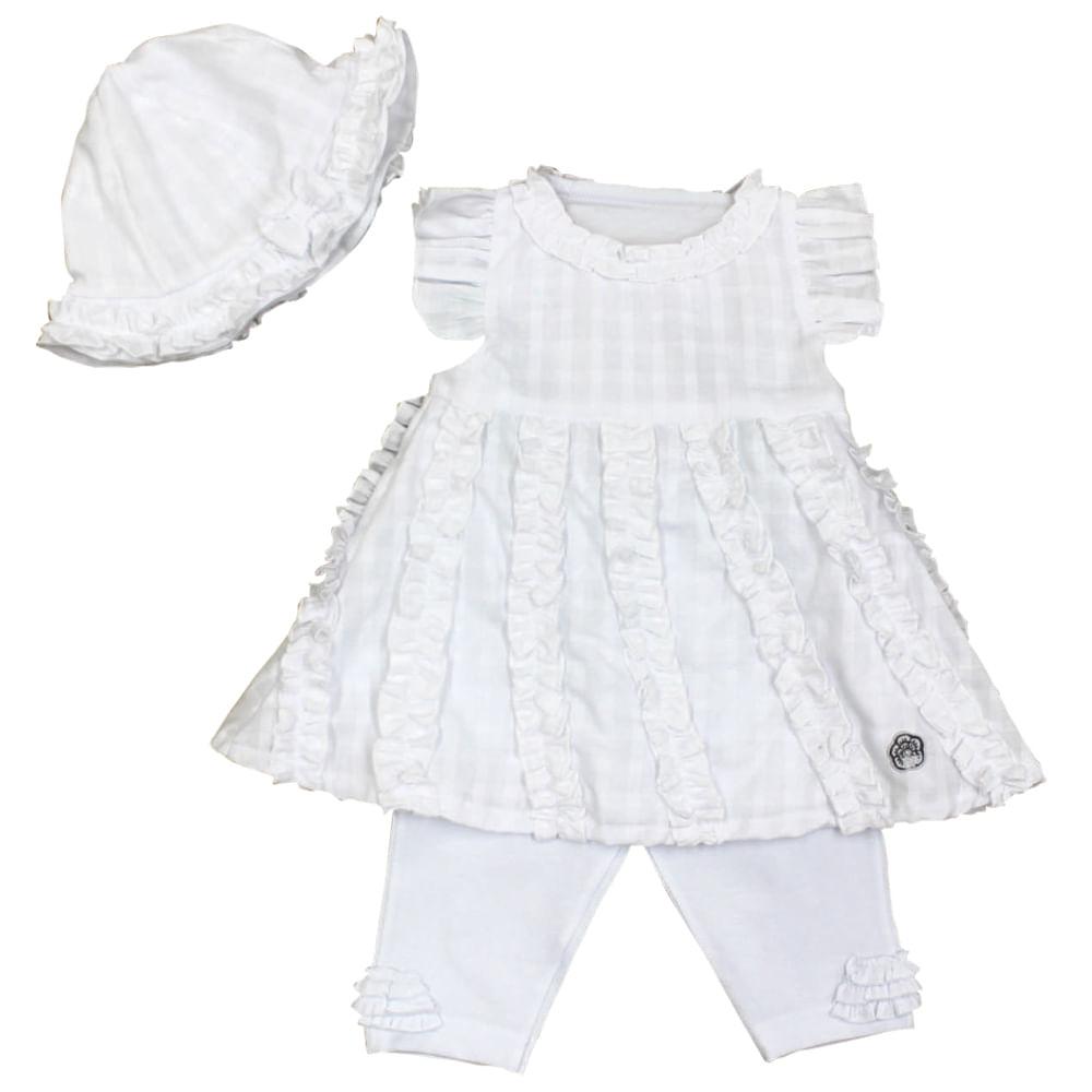 Conjunto de Vestido e Legging - Branco - Baby Fashion Conjunto de Vestido e Legging Branco - Baby Fashion Tam 2