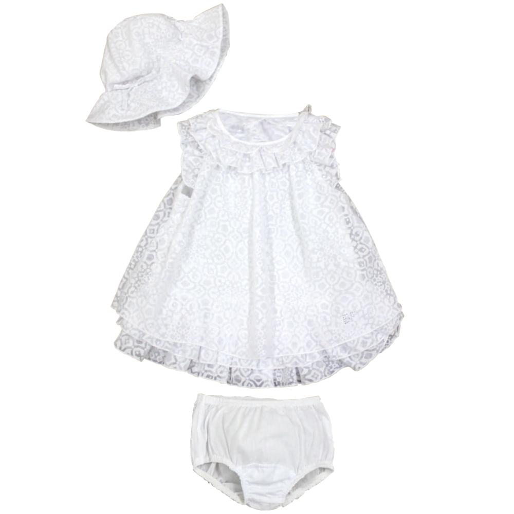 Vestido para Batizado com Chapéu - Branco - Baby Fashion Tam 2