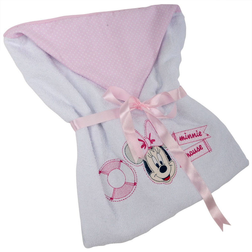 Oferta Toalha Minnie com Forro - Rosa e Branco - Minasrey por R$ 39.9