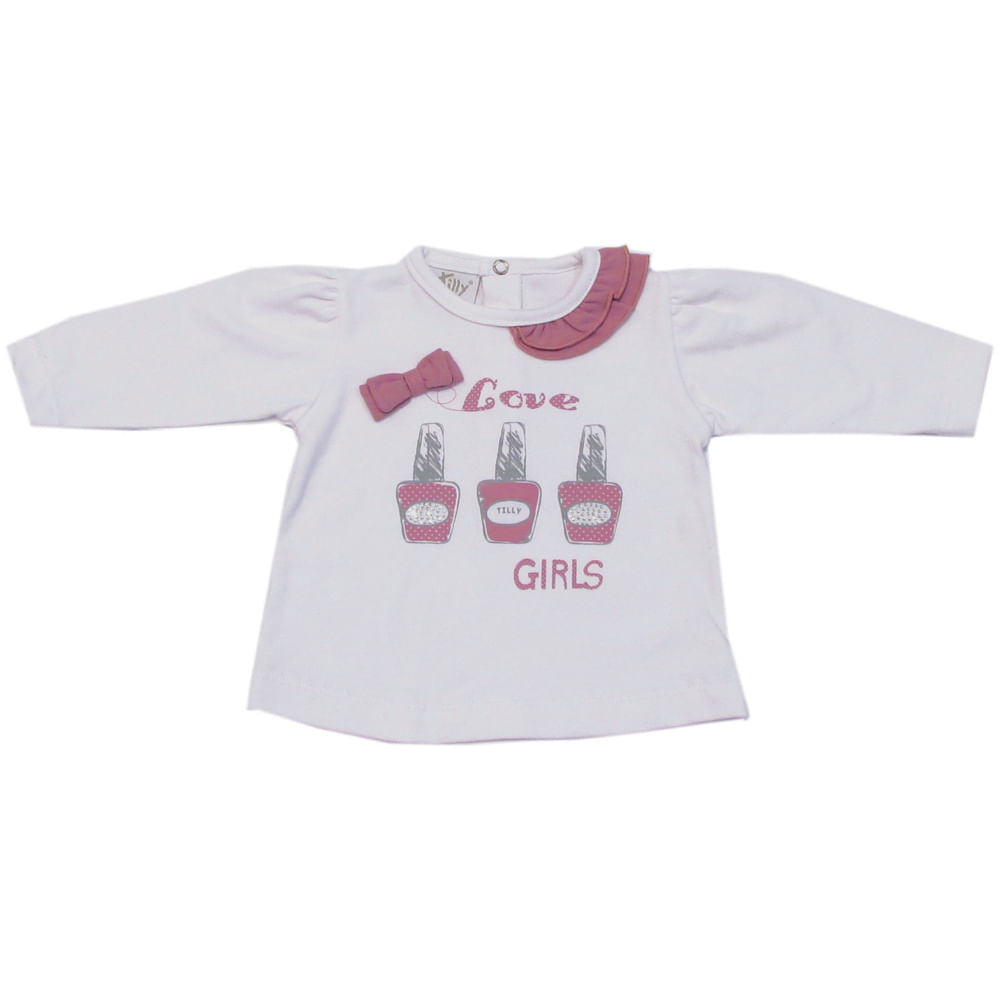 Camiseta Bebê Manga Longa Esmaltes - Rosa - Tilly Baby - P