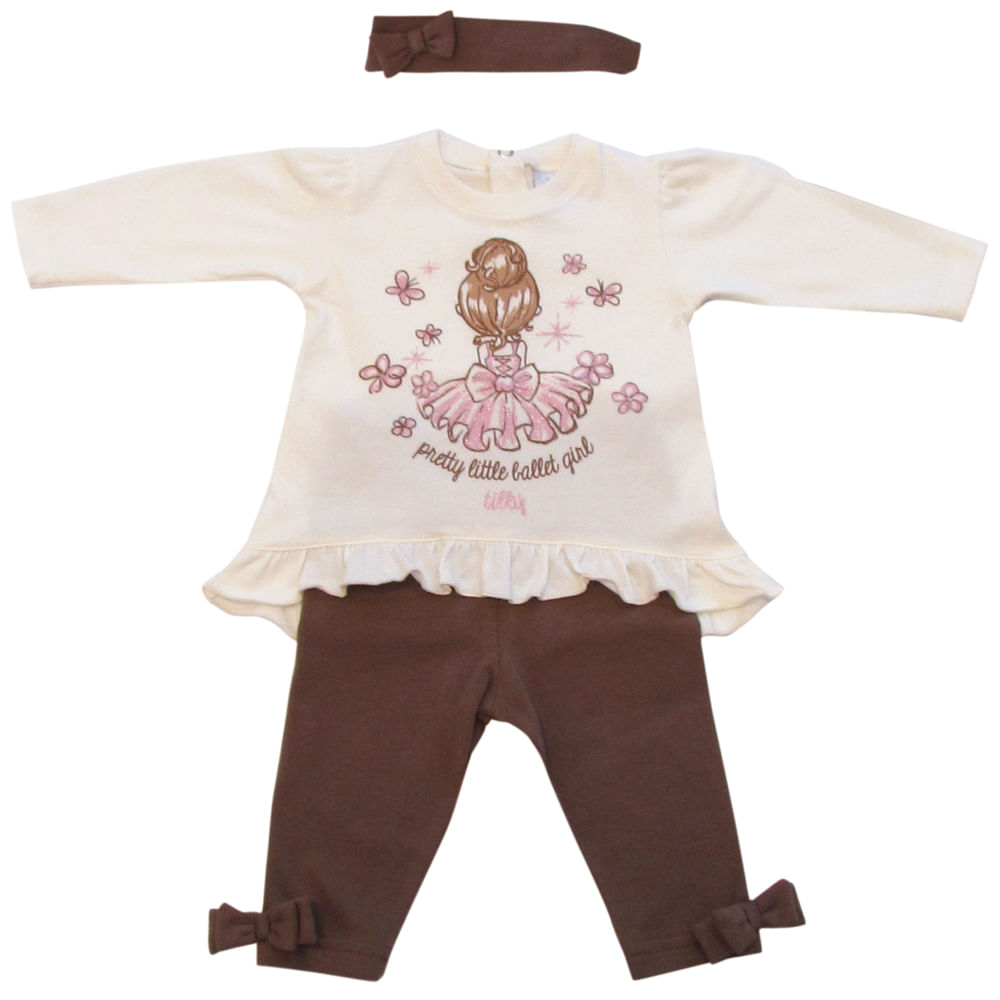 Conjunto Pretty Little Ballet Girl - Creme e Marrom - Tilly Baby Conjunto Pretty Little Ballet Girl Creme Marrom Tilly Baby - P
