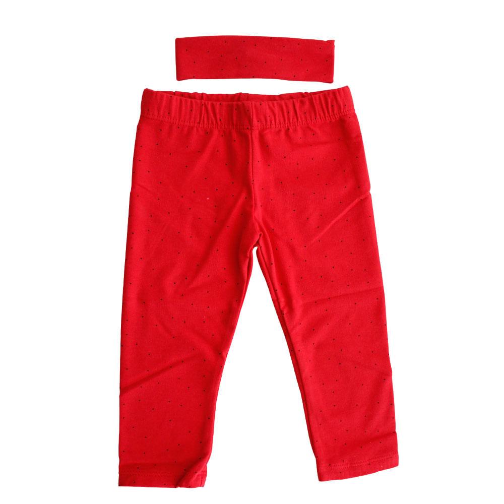 Legging com Faixa de Cabeça - Vermelha - Mini Kids - GBaby - G