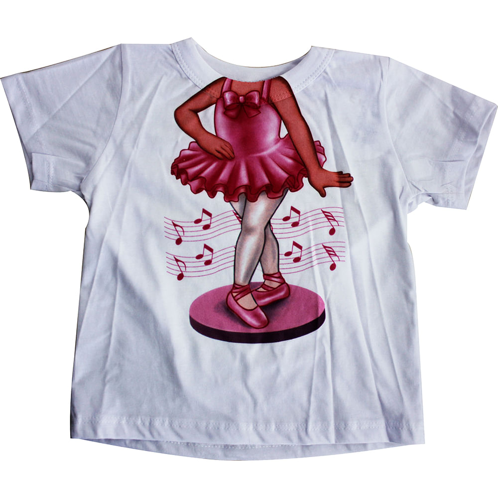 Camiseta Manga Curta Bailarina - Branco - Mini Mix - GBaby - 3