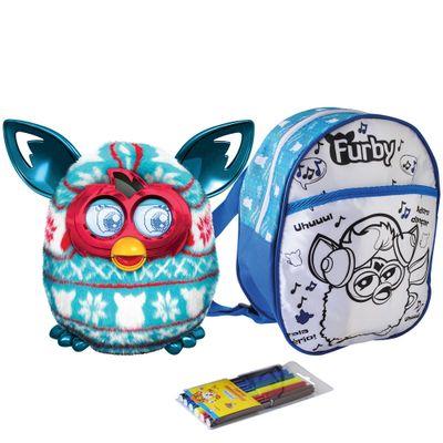 Kit-Pelucia-Interativa-Furby-Boom-Festive-Sweater-Hasbro-Mochila-Furby-para-Colorir-Azul