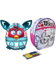Kit-Pelucia-Interativa-Furby-Boom-Festive-Sweater-Hasbro-Mochila-Furby-para-Colorir-Rosa