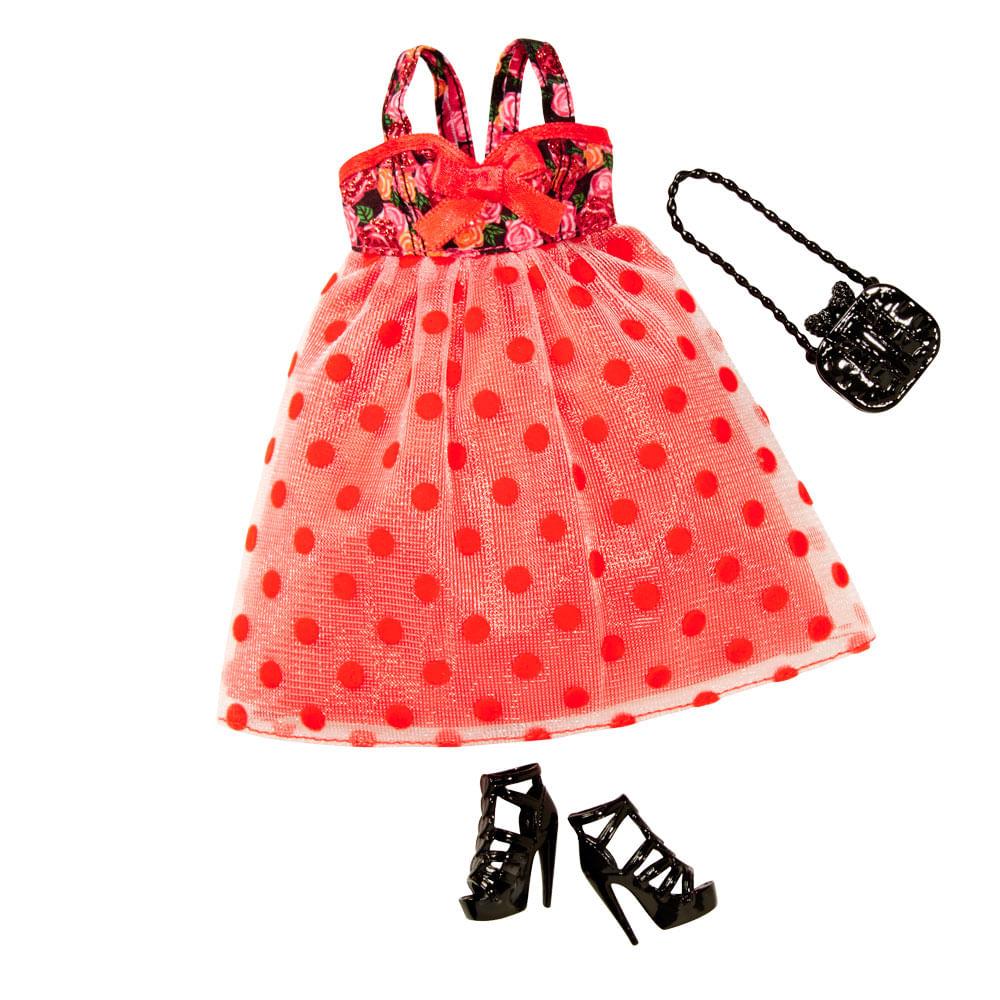 Roupinha Barbie - Fashionistas Vestido Vermelho com Poás - Mattel