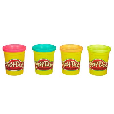 Massinha-Play-Doh---4-Potes---Rosa-Laranja-Verde-e-Verde-Claro---Hasbro